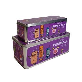 2 Boîtes à pharmacie - 27 x 12 cm - Violet