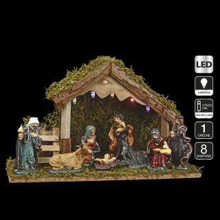 Crèche de Noël lumineuse - 8 Santons