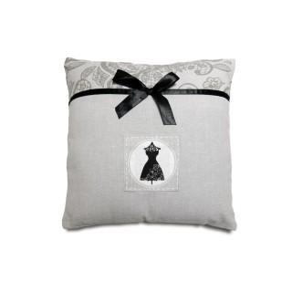 Coussin en coton Black Dress - 40 x 40 cm - Gris et noir