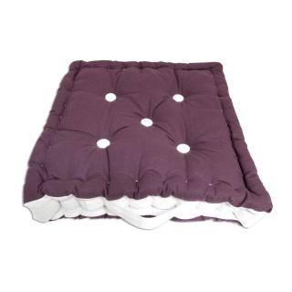 Coussin tapissier en coton Boudoir - 40 x 40 cm - Violet et blanc