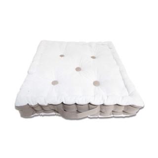 Coussin tapissier en coton Boudoir - 40 x 40 cm - Gris et blanc