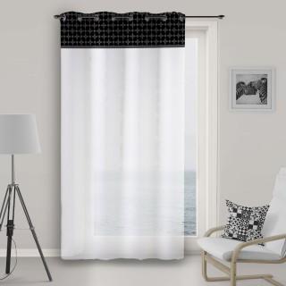 Voile à œillets Damier - 135 x 250 cm - Noir