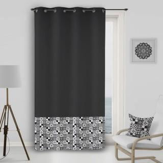 Rideau à œillets Mosaique - 140 x 260 cm - Noir et blanc