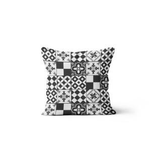 Coussin Mosaique - 40 x 40 cm - Blanc et noir