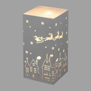 Lampe déco cerf et village Noël - 10 x 20 cm - Gris
