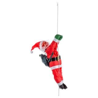 Père Noël grimpeur - H. 60 cm - Rouge et noir