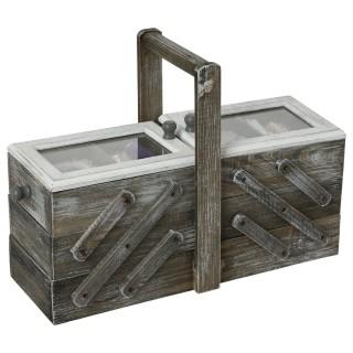 Boîte à couture en bois Escalier - 43 x 28 cm - Gris