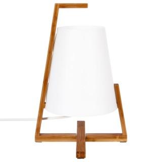Lampe à poser en bambou Life - H. 31,5 cm - Blanc
