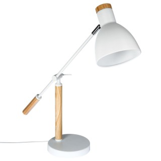Lampe à poser en bois et fer Anit - H. 49 cm - Blanc