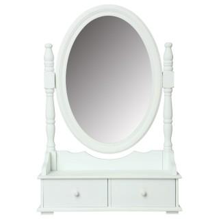 Coiffeuse range bijoux avec tiroirs et miroir - 50 x 75 cm - Blanc