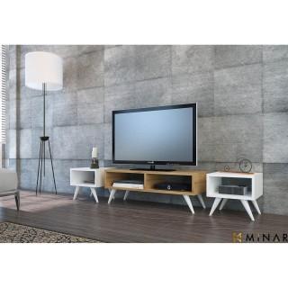 Meuble TV rétro Vinca - 160 x 37 cm - Blanc et marron