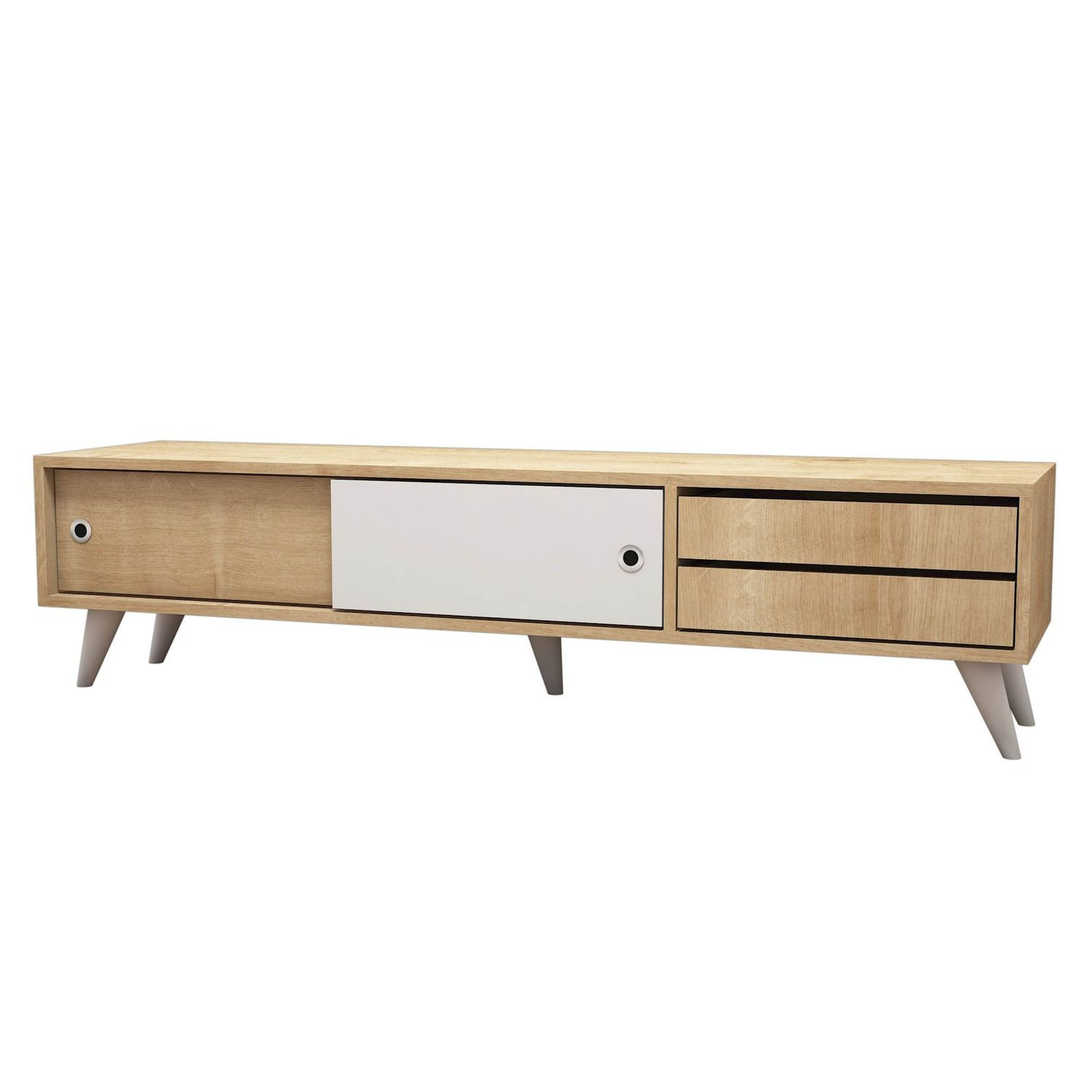 Meuble Tv Scandinave Eduardo 160 X 40 Cm Marron Et Blanc  # Meuble Tv Scandinave