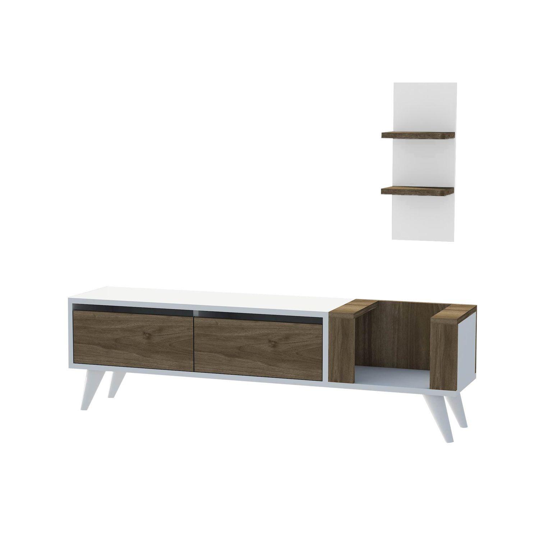 Meuble Tv Moderne Fold 141 X 39 Cm Blanc Et Marron Toilinux # Meuble Tv Fold