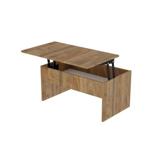 Table basse avec plateau relevable Smart - 90 x 45 cm - Marron