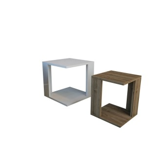 2 Tables à café encastrables Cubic - 40 x 40 cm - Blanc et marron