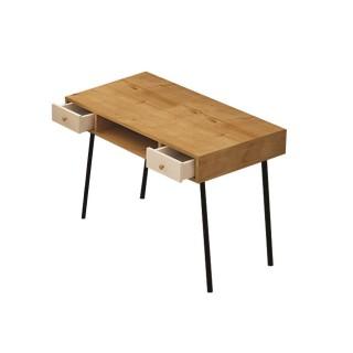 Bureau en métal et bois BTS - 100 x 72 cm - Beige et blanc