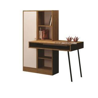 Bureau en bois avec bibliothèques Starck - 140 x 140 cm - Beige