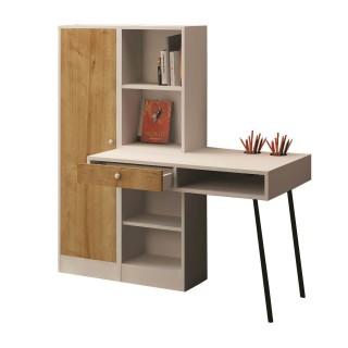 Bureau en bois avec tiroir et bibliothèques Starck - 140 x 140 cm - Blanc et beige