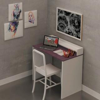 Bureau en bois Etao - 90 x 87 cm - Blanc et violet