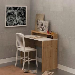 Bureau en bois School - 90 x 87 cm - Beige et blanc