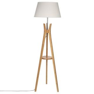 Lampadaire trépied en bambou avec tablette - H. 156 cm.