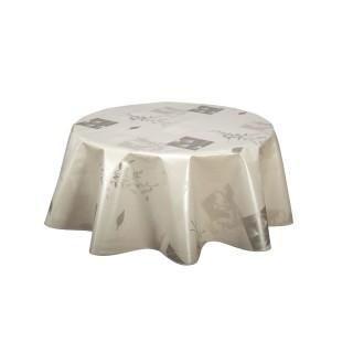 Nappe en toile cirée ronde Etamine - Diam. 150 cm - Argent