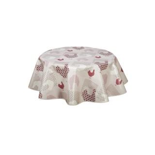 Nappe en toile cirée ronde Cocotte - Diam. 135 cm - Rouge