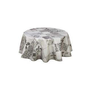 Nappe en toile cirée ronde Karodéko - Diam. 135 cm - Gris