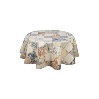Nappe en toile cirée ronde Karodéko - Diam. 135 cm - Ecru