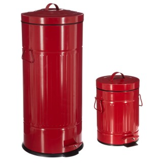 2 Poubelles à pédale Vintage - 30 L et 3 L - Rouge
