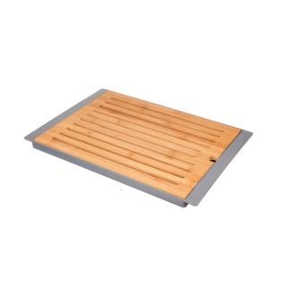 Planche à pain en bambou avec plateau - Gris