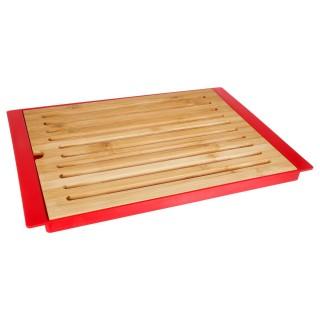 Planche à pain en bambou avec plateau - Rouge