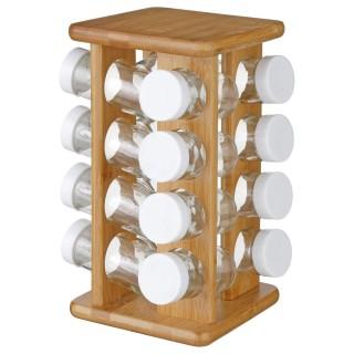 Présentoir à épices rotatif - 16 pots - Bambou