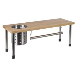Etagère de cuisine porte ustensiles et essuie-tout en bambou - 51 x 21 cm