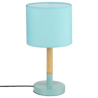 Lampe à poser en bois Heva - H. 37 cm - Bleu