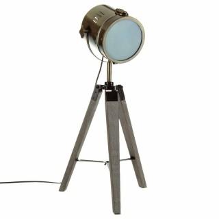 Lampe en métal et bois Ebor - H. 68 cm - Bronze