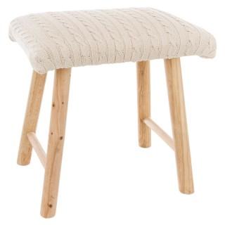Tabouret carré déco tricot Marcel - H. 36,5 cm - Beige