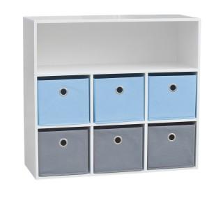 Meuble de rangement enfant 6 Cases Boy - 76 x H. 70 cm - Bleu