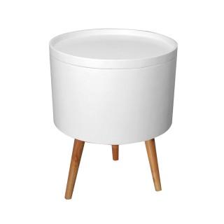 Table d'appoint avec plateau amovible Unia - Diam. 38 cm - Blanc