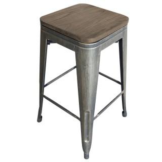 Tabouret de bar Vintage - H. 66 cm - Gris métallisé