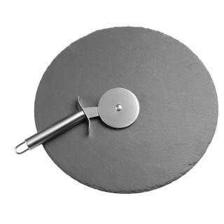 Plateau à pizza avec roulette - Diam. 30 cm - Ardoise