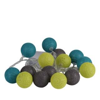 Guirlande lumineuse 15 boules - Diam. 3,5 cm - Bleu, vert et gris
