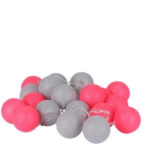 Guirlande lumineuse 20 boules - Diam. 6 cm - Rose et gris