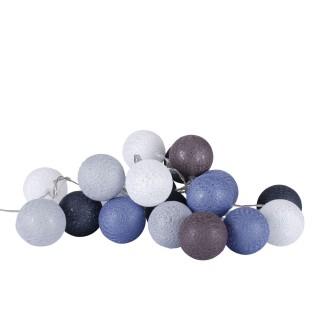 Guirlande lumineuse 20 boules - Diam. 6 cm - Gris