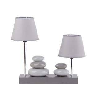 Lampe à poser double abat-jour Galets - 36 x H. 36 cm - Gris