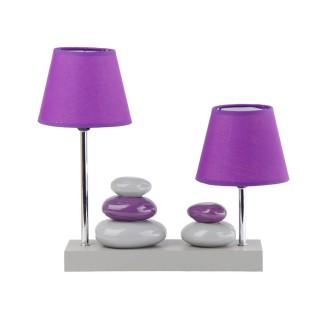 Lampe à poser double abat-jour Galets - 36 x H. 36 cm - Violet