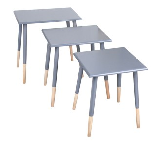 3 Tables gigognes carrées Scandi - Gris