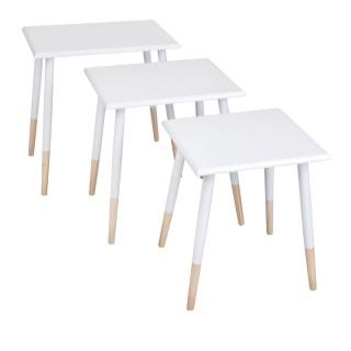 3 Tables gigognes carrées Scandi - Blanc