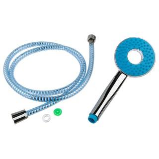 Flexible et pommeau de douche en inox - L. 1,50 m - Bleu
