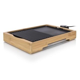 Plancha électrique de table en bambou Cuisto Duo - 2000W - 36 x 25,4 cm